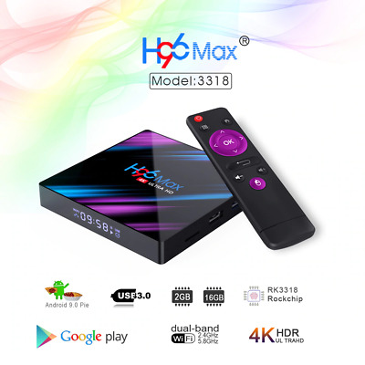 H96MAX Android 9.0 Smart TV BOX RK3318 2GB 16GB Quad Core Dual WIFI 2.4G 5G