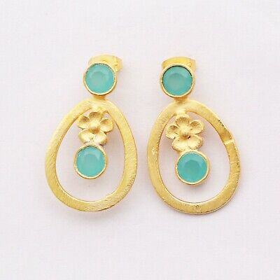 Chalcedony Gemstone Gold Matte Plated Amazing Earring Bridesmaid Gift Jewelry