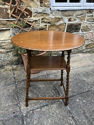 Antique Barley Twist Leg Oval Pie Crust Top Side / Lamp Table With Shelf