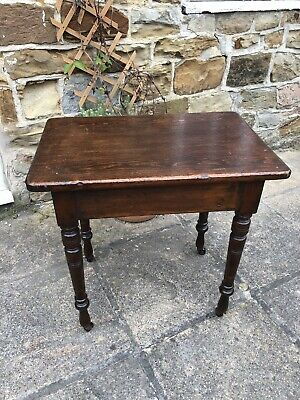 Shabby Chic Antique Victorian Rectangular Elm / Oak Side End Table On Casters