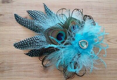 Turquoise Aqua Pale Blue Rustic Style Peacock Feather Fascinator Hat Wedding
