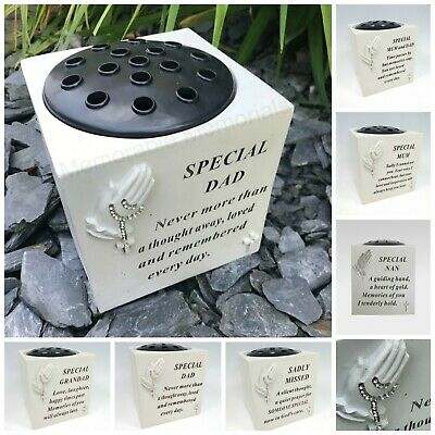 Memorial Praying Hands Flower Bowl Vase Rosary Beads Plaque Tribute Grave Pot