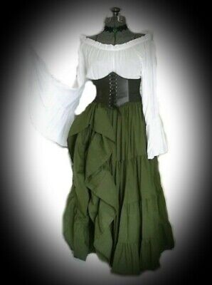 New Green & White Gothic Medieval Corset Belt Wench Dress size 5XL 22 24 26 28