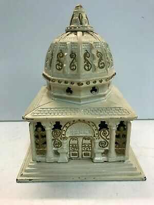 """Cast Iron """"Columbia Bank"""" 2nd smallest- Still Bank by Kenton Co. 1893"""