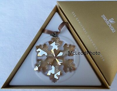 2016 SCS Swarovski Christmas GOLD Crystal Ornament, Large Annual Edition, MINT