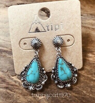 """Western Small Dainty Silver-Tone Faux Turquoise Post Concho Earrings 1"""""""