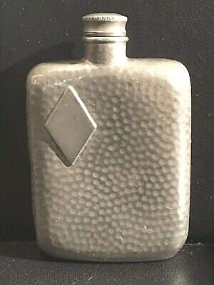 Antique James Dixon & Sons Pewter Flask England Sheffield Hammered 2 Oz.