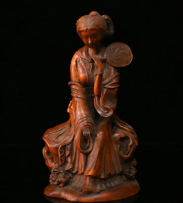 "7"" Chinese Boxwood Wood Hand-Carved Classical beauty Women Belle Hold Fan Staue"