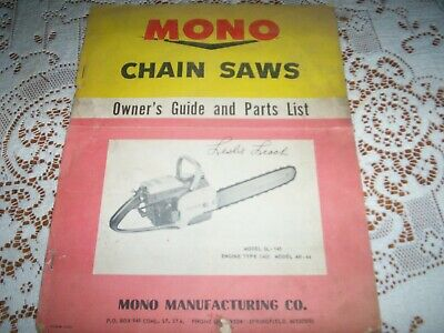 VINTAGEMono CHAIN SAW Owners Guide & Parts List