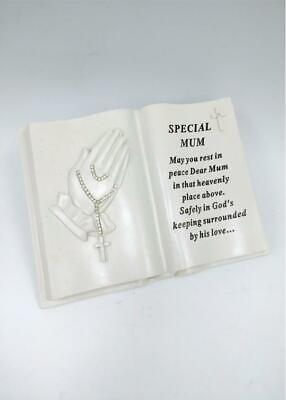 Mum Memorial Praying Hands Open Book Rosary Beads Plaque Grave Ornament Tribute