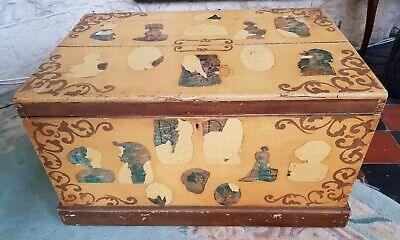 Wooden Pine Chest Vintage Blanket Trunk Box Coffee Table  Storage Seat Toy Box