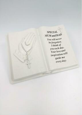 Mum and Dad - Memorial Praying Hands Open Book Rosary Beads Plaque Grave Tribute