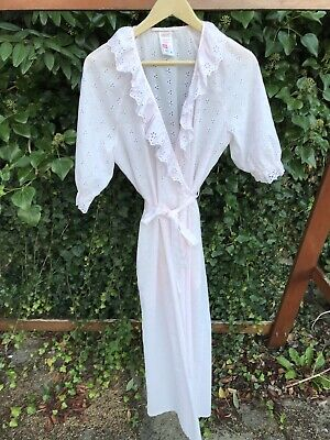 VINTAGE ST MICHAEL M&S Pink Broderie Anglais FRILLY Long DRESSING GOWN 12 70s
