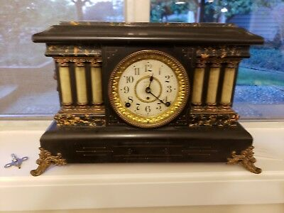 SETH THOMAS ORNATE MANTLE CLOCK 1880's LION'S HEADS W/KEY ANTIQUE WORKING NICE
