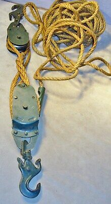 Double Pulley Block & Tackle Metal with Cast Iron Hooks & Much Rope-Barn-Other