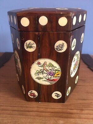 Antique Chinese Rosewood Tea Caddy With Decorative Medallions For Restoration