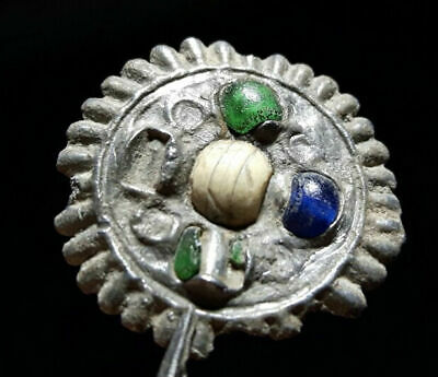 Byzantine Lead Broch Pedant With Green And Blue Beads