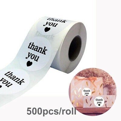 500pcs/roll Adhesive White Semi Gloss Thank You Stickers Round Labels g