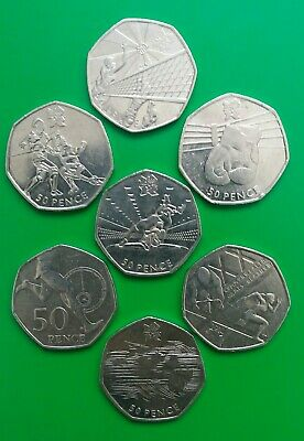 7 x Olympic 50p Job Lot Which Includes WRESTLING ( 2nd Rarest Olympic 50p Coin )
