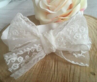 Baby Girl Off White Christening Headband Baptism Wedding Hand Tied Bow Hairband