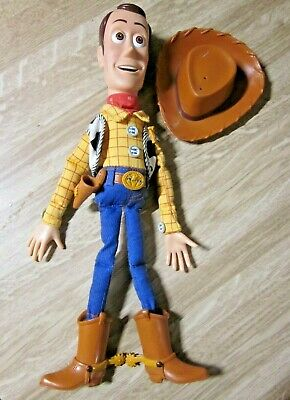 """Disney Pixar Toy Story 15"""" Talking Woody Doll Pull String with Hat VG"""