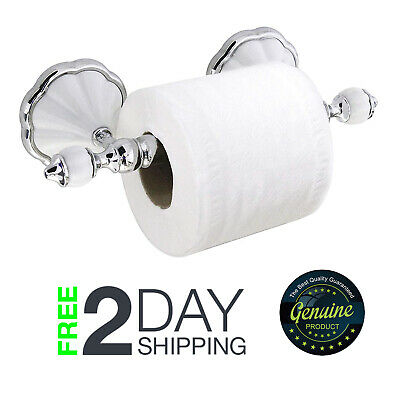 Wall Mounted Toilet Paper Holder Roller Porcelain Chrome Steel Antique Anchors