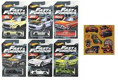 2019 Hot Wheels Fast and the Furious Exclusive Complete Set of 6 Cars