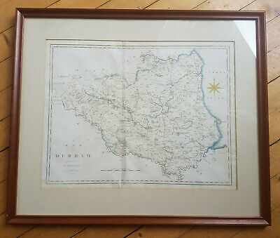 1805 John Cary Engraved Map of Durham Large Framed Original Stockdale English