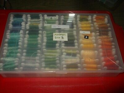 Job lot of Anchor embroidery thread in case 107 card bobbins (Box 2)