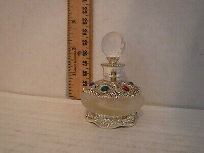 Frosted Glass Cut Antique & Vintage Crystal Perfume Bottle with Glass & Metal