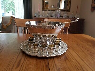 1883 FB Rogers Silver Plate Punch Bowl Set