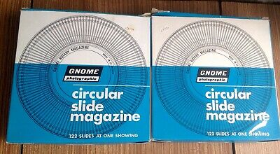 2 Gnome Circular Rotary 35mm Projector Slide Magazines Storage 122 Capacity