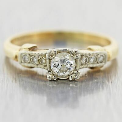 1930's Antique Art Deco 14k Yellow Gold 18k White Gold Diamond Engagement Ring