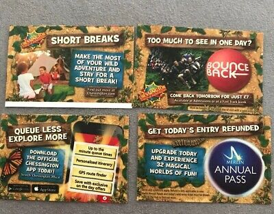 FRIDAY 11th October 4 X Chessington World Of Adventures TICKETS Full Free Entry