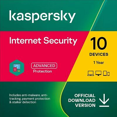 Kaspersky Internet Security 2020 10 Devices 1 Year PC Mac Android Email Key EU