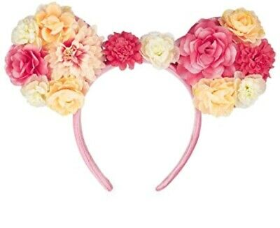 Disney Parks Minnie Mouse Ears Flowers and Garden Pink Headband Floral Bow Hat