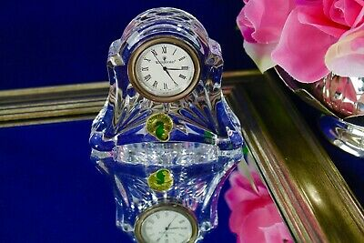 """Waterford Crystal Small Mantle Clock """"ABBEY"""" New Battery Working Condition"""