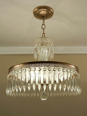 Vintage Mid Century Crystal Prism Chandelier Brass Glass Ceiling Light Fixture