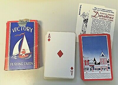 Victory WAR TIME Playing Cards, Vintage Sailboat Deck with Original Tax Stamp