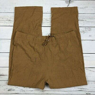 Norm Thompson Pull On Pants Size XL Womens Crinkle Crepe Brown Drawstring