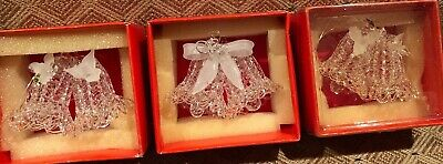 Lot 3 VINTAGE SPUN GLASS BELLS WITH Flower/Bow ORNAMENT ~ With BOX Silvestri