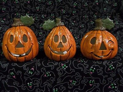 Hand Painted Ceramic Halloween Pumpkin Trio large