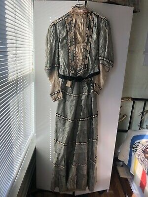 Amazing Vtg Antique Destroyed Victorian 1800s Womens Dress W/Beads Old Display