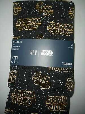 GAP NWT Men's Med 32 33 34 waist black white dots yellow Star Wars cotton boxer