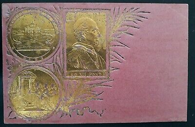 1900 Italy Pope Leo XIII Postcard with Gold Coating Unused