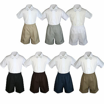 3pc Baby Boys Toddler Formal White Bow tie Black Gray White Khaki Shorts Set