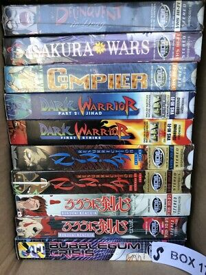 Lot of 10 Anime VHS Video Tapes Delinquent In Drag Compiler Sakura Wars Rurouni