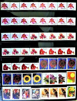 56 uncancelled Canadian 'P' domestic postage stamps, no gum