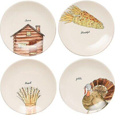 "Rae Dunn Thanksgiving Appetizer Plates - Set of 4, 8"" Authentic Holiday"