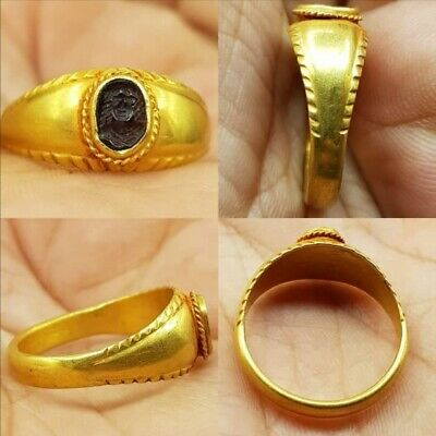 22k gold Ring  Ancient Roman stone garnet Olympias woman ruler face seal  #68